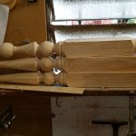 gable finials in workshop